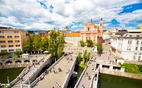 Обои облака, деревья, река, дома, площадь, мосты, Словения