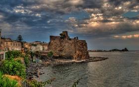Картинка Italy, набережная, Mediterranean Sea, Sicily, скала, Ачи-Кастелло, Aci Castello