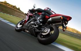 Обои дорога, спорт, скорость, трасса, мотоцикл, yamaha, moto