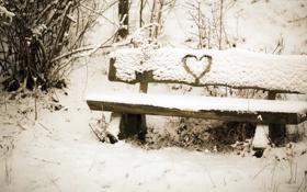 Картинка снег, настроение, сердце, скамья