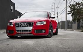 Обои небо, Audi, ауди, улица, red, красная, высоковольтные столбы