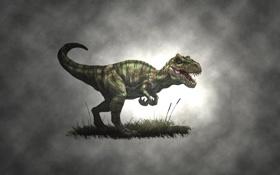 Обои трава, туманность, динозавр, хищник, dinosaur, зелный