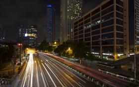 Картинка ночь, китай, небоскребы, china, шанхай, shanghai