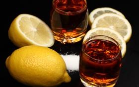 Обои лимон, сахар, стаканы, напиток