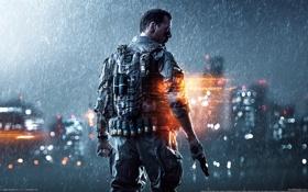 Картинка пистолет, перчатки, солдат, бронежилет, Battlefield 4, огни, дождь