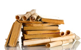 Обои old, books, parchment, paper oxide