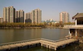 Обои город, строения, здания, река, вода