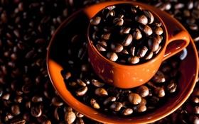 Картинка макро, кофе, зерна, кружка, macro, cup, beans