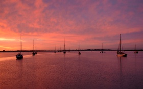 Картинка море, яхты, вечер, залив, штиль