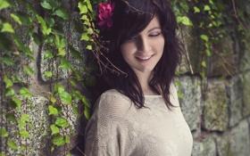 Картинка цветок, улыбка, стена