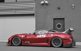 Обои Ferrari, Red, Race, Building, Evoluzione, 599XX