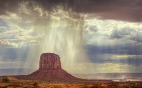 Обои небо, облака, дождь, гора, ливень