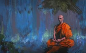 Картинка лес, листья, деревья, человек, медитация, арт, поза лотоса