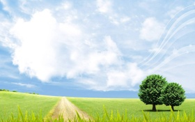 Картинка дорога, зелень, поле, лето, небо, трава, листья