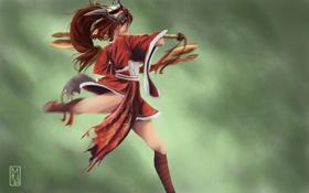 Обои девушка, оружие, злость, маска, art, Akali, league of legends
