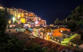 Обои Manarola, крыши, дома, Италия, ночь, огни