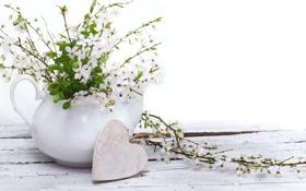 Обои цветы, стол, ваза, сердечко, верёвка