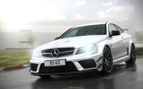 Картинка Mercedes-Benz, rain, AMG, front, C63, silvery, C-Klasse