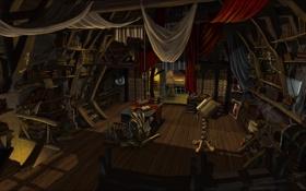 Обои комната, книги, свечи, арт, фонари, библиотека, лаборатория