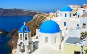 Обои море, горы, дома, Санторини, Греция, церковь, купола