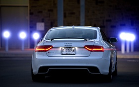 Обои блики, Audi, ауди, белая, white, Coupe, rear