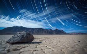 Обои выдержка, пустыня, The Racetrack, камень, Death Valley, горы, ночь