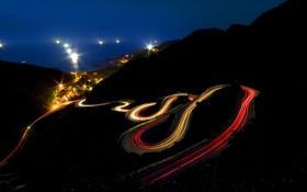 Обои горы, ночь, огни, Mountain, Night, Light Trails, Long Exposure