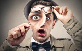 Обои лук, смешно, следователь, юмор, magnifying glass, amazed, инспектор