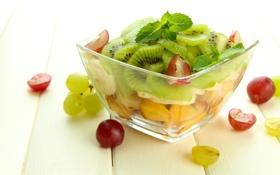 Картинка киви, виноград, персик, десерт, peach, grapes, dessert