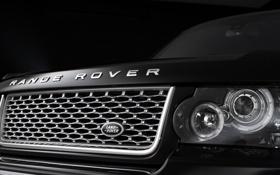 Обои macro, фары, land rover, range rover