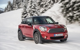 Картинка Красный, Зима, Авто, Машина, Фары, Mini Cooper, MINI