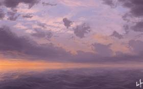 Картинка море, волны, небо, вода, облака, закат, арт