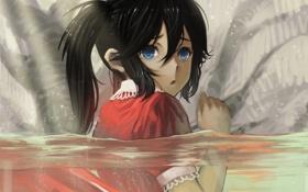 Картинка вода, испуг, аниме, арт, девочка, black rock shooter, стрелок с черной скалы