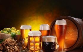 Картинка пена, стол, пиво, бокалы, стаканы, мешок, тёмное