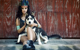 Обои Model, dog, Victoria Vesce