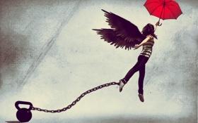 Картинка девушка, зонтик, рисунок, крылья, зонт, цепь, гиря