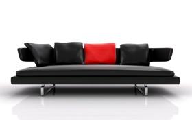 Обои отражение, диван, подушки