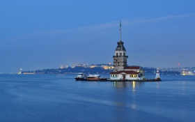 Обои город, Босфор, маяк, пролив, Турция, Стамбул
