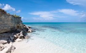 Обои песок, пляж, небо, вода, облака, пейзаж, природа