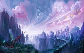 Обои дорога, небо, фантастика, скалы, мир, арт