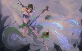 Картинка девушка, музыка, лошади, инструмент