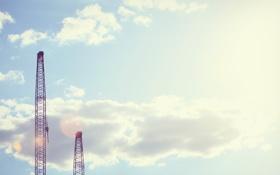 Картинка подъемник, небо, Город, Порт, сторения, кран, облока