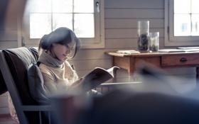 Обои журнал, шарфик, в кресле, чтение