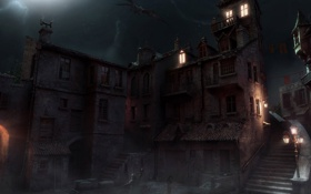 Обои фентези, налёт, ночь, городок, дракон, огни