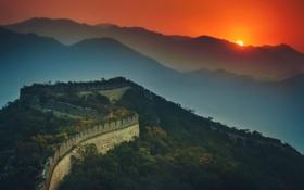 Обои закат, небо, солнце, стена, горы, hdr, Китай