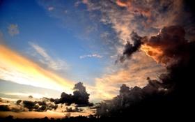 Картинка небо, облака, лучи, свет, закат, природа