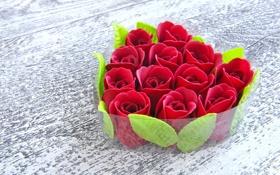 Картинка цветы, стол, сердечко, листики
