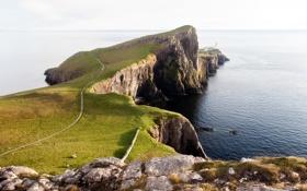 Обои дорога, море, трава, вода, камни, растительность, маяк