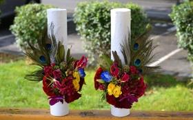 Картинка фото, розы, орхидеи, букеты, эустома, каллы, два цветы