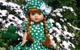 Обои девочки, коса, игрушки, фото, кукла, настроение, платье
